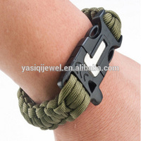 New Style Flint Fire Starter Scraper Whistle Survival Paracord Bracelet Wholesale