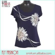 F295-BL# middle age women t-shirt eruopean clothings Blue Three-dimensional flower t shirt