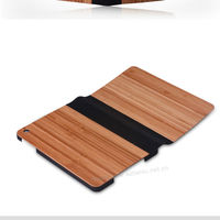 New arrival individualized cute stand case for ipad mini,luxury pc+pu+real wood 3 in 1 wallet folio case for ipad mini