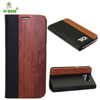 Wood+Leather Phone Case With Stand For Samsung Galaxy S6