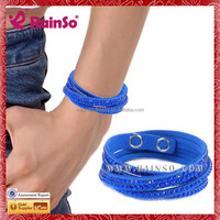 2015 New Style Crystal Braided Leather Rope Hand Woven Bracelet