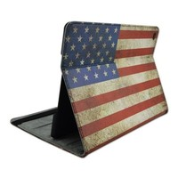 USA Flag Pattern Horizontal Flip Leather Case for iPad Air 2 with 3 Gears Holder