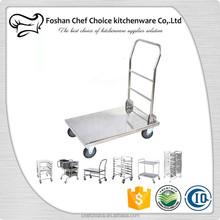 Stainless Steel Bellman's Cart Square Tube Fodable Hotel Luggage Cart Heavy Duty Platform Trolley