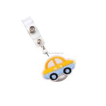 Whtie Plastic Custom Patch Yellow Car Badge Reel