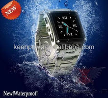 Hot Sale Waterproof Watch Mobile Phone Watchphone Quad-band Cell Phone Stainless Steel Camera MP4 FM