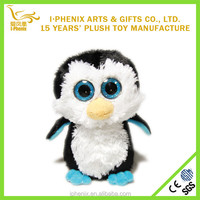 Top popular lovely cartoon character penguin plush toy with shiny big blue eyes
