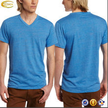 OEM wholesale organic cotton Men's Basic Slub short sleeve V-Neck Tee men's t shirt