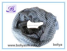 Fashion black and white polka dots scarf printing