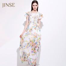 Ladies elegant Long Sleeve Evening Dresses Fashion Sexy Chiffon Maxi Long Dress