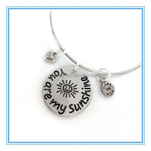 "Stainless Steel Beautiful Charm Engraved ""You are my Sunshine"" Bracelet Wholesale in Alibaba"