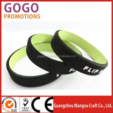 Hot sale OEM promotional gifts popular special design dual layer silicone bracelet/silicone wristband, dual layer silicon band