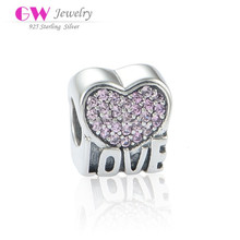 Love Heart Model Micro Light Purple CZ Stones Paved Solid Silver Initial Charms
