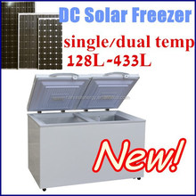 new double zone double temp control 12v 24v dc compressor horizontal chest refrigerator freezer
