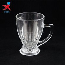 CLEAR GLASS DRINKING CUP EMBOSSED PICTURE WITH HANDLE