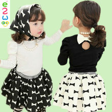 Cotton Girls Night Suit Top + Bow Skirt + Necklace Baby Girl Sailor Suit