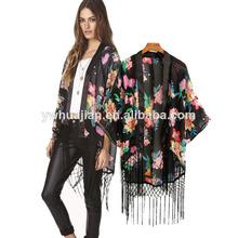 2014 europa américa y de la moda borla impreso blusas de gasa