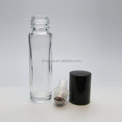 10 Ml Clear Glass Roller Bottles with Stainless Steel Ball Insert and Black Caps