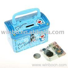 handle cartoon tin metal saving money box