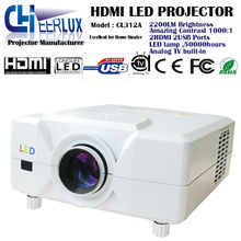 professional home cinema analog TV projector support 3D movies & 1080p &720p with high brightness & multimedia interface