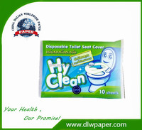 Travel Pack 1/16 fold toilet seat paper cover,100% virgin pulp,customized pack Logo