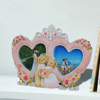 """hot sale double heart shaped love photo frame for wedding decor resin 2.5"""" x 2.5"""" 0.4kg european custom made picture frame BY001"""