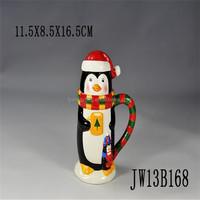 penguin animated mug ,animal shaped mugs for christmas ,3d animal mug christmas design