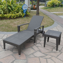 Weather Resistant Outdoor Plastic Rattan Wicker Aluminum Wooden Folding Reclining Lounge Beach Chair With Wheels