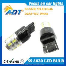 12V Amber 7443/T20/W21/5W 5630 12SMD Car LED Lamp Tail Parking Light