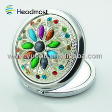 rhinestone decorative Magnification Silver Finish Round Compact Mirror,Pocket Mirror
