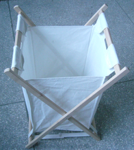 Canvas bag with Wooden Laundry hamper frame