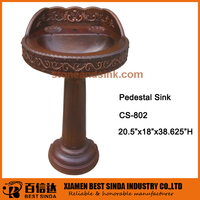 New arrival antique copper pedestal basin