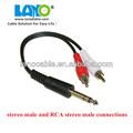 Nueva marca 6.35mm enchufe a 2 rca macho adaptador de cable coaxial