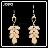 European Style Gold Plated Handmade Original Design Leaf Earrings With Fish Hook DRJ0197
