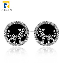 african beads jewelry white gold leopard earrings for women GPE1002-C