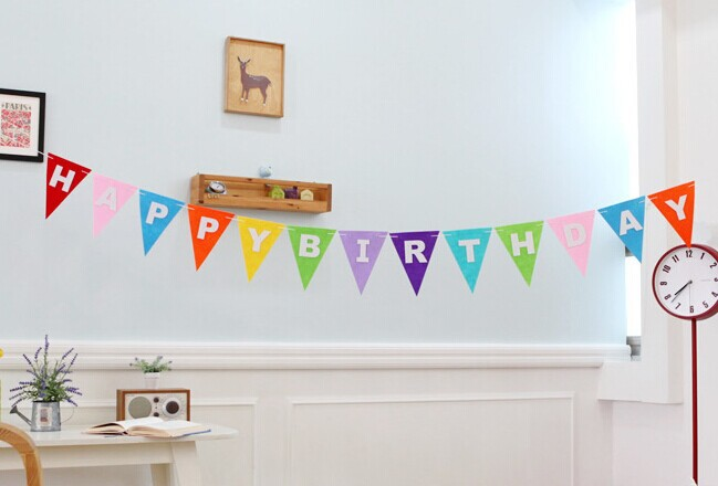 SaveEnlarge Pink Happy Birthday Banner On Wall Decorations