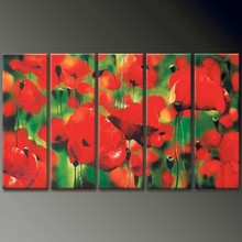 Artwork red flowers 5 panel group oil painting on canvas handmade home decor