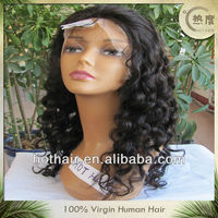 """18"""" natural color Sexy long deep curl wig 100% Virgin Human Hair,Lace Front Wigs wholesale"""