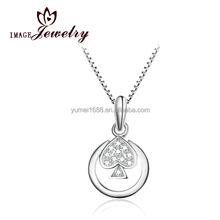 2015 Wholesale Jewelry Silver Chain Necklace Plain Coin Pendant Charm Necklace