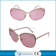 Hot selling pink metal sunglasses fashionable polarized uv400 ce&fda