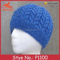 P1100 hot sale handmade winter blue men knitted beanie hat cap