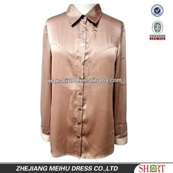 European&American slim fit sexual style business/office satin shirt for Lady/Women