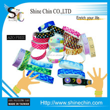 Sublimated print rubber elastic wristband polyester custom woven wristband
