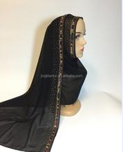accept Custom make luxury dubai fashion design islamic scarf 2015 crystal party muslim hijab scarf OYC7