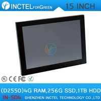 """All In One PC Computer with LED 2mm panel 2*RS232 15"""" Intel Atom D2550 Dual Core 1.86Ghz 4G RAM 256G SSD 1TB HDD"""