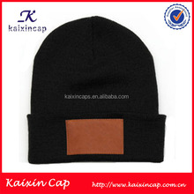 custom leather patch black winter cotton man's beanie knitted hat