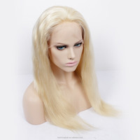 Luxury silky straight high quality affordable price european hair blonde color #613 glueless full lace wig human hair topper wig