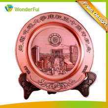 High Quality Art & Collectible Type Round Embossed Building Decoration Souvenir Medal Tray With Metal Base