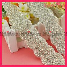 wholesale custom iron on rhinestone appliques for bridal WRA-341