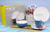 two tone blue white glazed lead free modern stoneware dinnerware with gift box packing