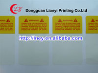 Customized high quality clothing warning adhesive labels manufacturer
